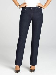 """Laura Petites: for women 5' 4"""" and under. This straight leg denim, from Simon Chang, is perfectly versatile, and transforms from casual to chic. Pair this pant with a stylish blouse and sparkly accessories, or wear it with a basic top for a...4030331-0036"""