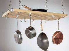 """Concept Housewares PR-40232 Rectangular Pot Rack 36"""" x 18"""" - Wood"""