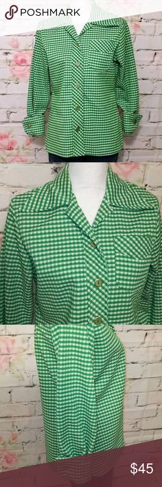 "🆕♥️ Vintage 60s Button Front Houndstooth Shirt Absolutely beautiful vintage 60s button front shirt!  - green and white houndstooth print - green and gold buttons down front and on sleeve cuffs  - left breast pocket  - side slits  - Excellent almost new condition with the exception of the inside tag missing, so I don't know the exact size or brand.  - approx measurements when laying flat:    - 19.5"" across chest    - 25"" from top to bottom - I'm guessing the material is 100% polyester Tops…"