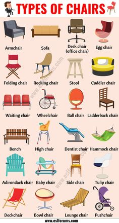 Types of Chairs: 25 Different Chair Styles with ESL Pictures - ESL Forums English Learning Spoken, Learning English For Kids, Teaching English Grammar, English Lessons For Kids, English Writing Skills, English Vocabulary Words, Learn English Words, English Language Learning, Fashion Vocabulary