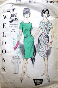 Vintage 1960s Dress Sewing Pattern. Weldons 8185. W Dresses, Vintage Dresses 1960s, Miss Dress, Vintage Sewing Patterns, Vintage Paper, Short Sleeves, Dress Sewing, Vintage Images, Stylish