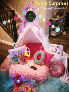 Pajamas to Pancakes Sweet Surprises themed sleepover party Teepee Party, Teepee Tent, Tents, Pajama Party Kids, Kids Sleepover, Daughter Birthday, 4th Birthday, Themed Cakes, Party Planning