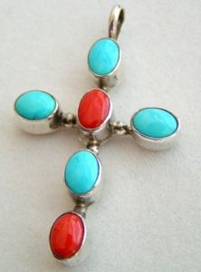 Native American Navajo Turquoise and Coral Sterling Silver Cross