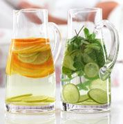 Infused water (2 recipes):  Lime, Cucumber and Mint  1 lime, thinly sliced  7.5cm (3in) piece cucumber, peeled, halved lengthways and finely sliced  2 large sprigs of fresh mint  1.5 litres (2 3/4 pints of water)  1/2 tsp toasted sesame oil     Method:  Put the lime, cucumber, mint and water in a large jug (or divide between two smaller jugs).  Cover and chill overnight. Stir before serving.     Citrus Refresher  1 lemon, thinly sliced  1 lime, thinly sliced  1 orange, thinly sliced  1.5…