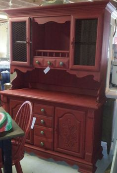 Items similar to Hutch with Napoleonic Blue Chalk Paint and Toile Fabric Decoupage on Etsy