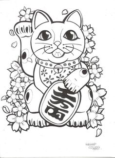 anime cat coloring pages - Google Search