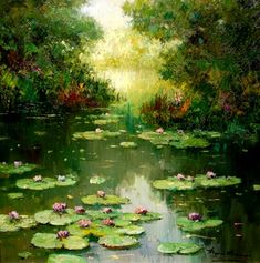 Monet Paintings, Nature Paintings, Beautiful Paintings, Beautiful Landscapes, Watercolor Landscape, Landscape Art, Landscape Paintings, Landscape Photography, Lily Painting