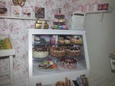 Miniature dollhouse cake cupcake counter  display in cake shop / baking shop