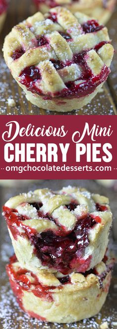 mini cherry pies are baked in a muffin tin so they're easy to make and even easier to take to a party, potluck, or picnic.These mini cherry pies are baked in a muffin tin so they're easy to make and even easier to take to a party, potluck, or picnic. Mini Desserts, Cherry Desserts, Cherry Recipes, Easy Desserts, Delicious Desserts, Dessert Tarts Mini, Recipe For Cherry Pie, Cherry Pie Filling Desserts, Mini Chocolate Desserts