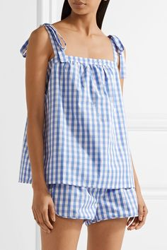 Three J NYC - Sadie Gingham Cotton-poplin Pajama Set - Blue