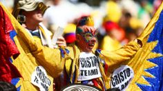 A Colombia fan enjoys the atmosphere