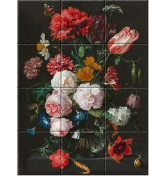 Still Life with Flowers in a Glass Vase Jan Davidsz. de Heem Still Life with Flowers in a Glass Vase, oil on copper, x cm. Decorative Tile, Art Reproductions, Still Life, Glass Vase, Ceramics, High Gloss, Flowers, Handmade, Pictures