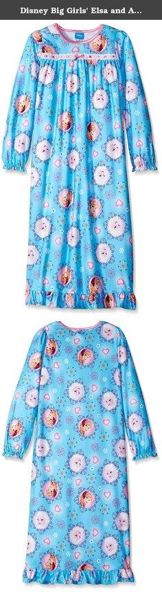 Disney Big Girls' Elsa and Anna Snowflakes Of Arendelle Nightgown, Blue, 8. This nightgown is sure to give your little girl chills of excitement with its bright colors and snowflake-filled graphics this nightgown is sure to be a hit for any fan of frozen's Elsa and Anna. This nightgown is perfect for sleeping and lounging.
