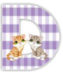Aflabeto de gatos en fondo cuadriculado morado. - Oh my Alfabetos!