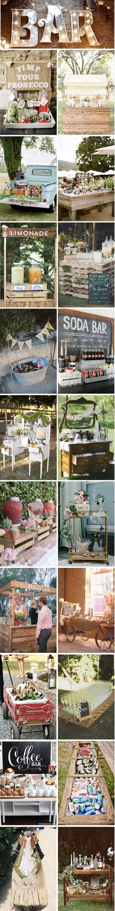 After the great fashion of the Candy Bar, the brides discovered the new trend to have fun . French Wedding, Rustic Wedding, Our Wedding, Wedding Reception Themes, Wedding Decorations, Drinks Wedding, Self Service, Deco Champetre, Night Bar