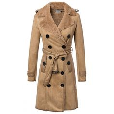Notched Lapel Double Breasted Belt Waist Velvet Lining Suede Coat (€58) ❤ liked on Polyvore featuring outerwear, coats, suede leather coat, beige coat, suede coat and double-breasted coat
