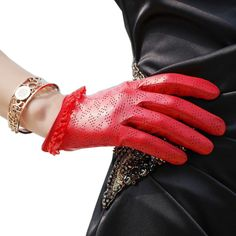 WARMEN Women's Genuine Lambskin Comfortable Perforated Leather Gloves with Lace Cuff (M, Red)