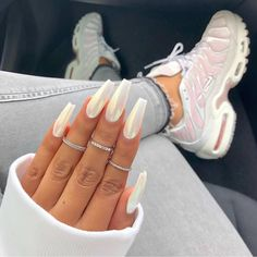 40 Pretty Nude & Ombre Acrylic And Matte White Nails Design For Short And Long N. - 40 Pretty Nude & Ombre Acrylic And Matte White Nails Design For Short And Long Nails – Page 28 of - Matte White Nails, White Acrylic Nails, Holographic Nails Acrylic, Acrylic Summer Nails Coffin, Red And White Nails, Acrylic Nail Shapes, White Acrylics, Gel Chrome Nails, Tumblr Acrylic Nails