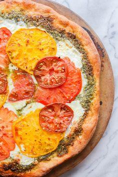 Heirloom Tomato Pesto Pizza | The Chef Next Door #MilkMeansMore