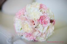 BG150 `Bianca Candy` roses, white David Austin roses, white lisianthus, white carnations, pale pink tipped white carnations