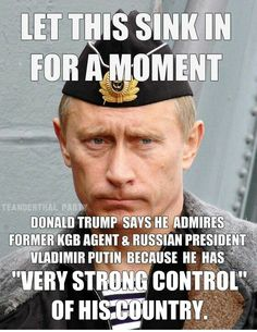 MORON TRUMP- PUTIN JAILS OR KILLS PEOPLE WHO SPEAK OUT AGAINST HIM.  THAT SAYS A LOT ABOUT TRUMP AND WHAT HE'D LIKE TO DO.