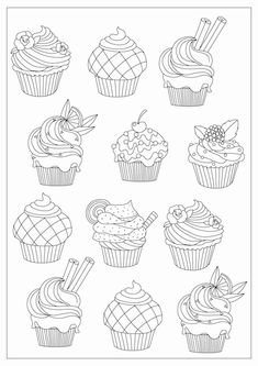 cupcake designs in different styles for coloring cupcake designs in different styles for coloring Kathy Magnes-Ludecke goggyludecke Coloring Just for Fun cupcake designs in different styles for nbsp hellip Cupcake drawing Cupcake Tattoo Designs, Cupcake Tattoos, Cupcake Coloring Pages, Free Coloring Pages, Coloring Books, Cupcake Drawing, Cupcake Art, Cupcake Cakes, Food Drawing
