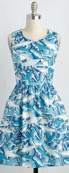 I would totally marry the first person I saw wearing this! Chic Dress, Dress Skirt, Cute Dresses, Cute Outfits, Party Dresses, Shark Dress, Shark Gifts, Shark Bait, Shark Week