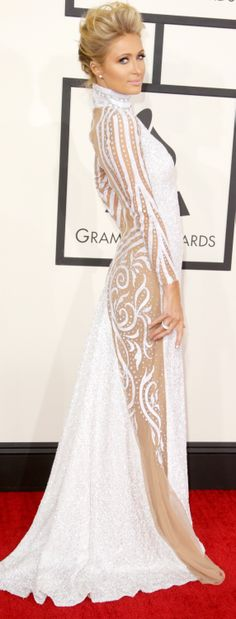 Paris Hilton went for a sheer cutout look at the Grammy Awards