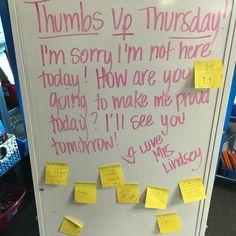 Thursday whiteboard prompt: thumbs up Future Classroom, School Classroom, Classroom Activities, Classroom Organization, Classroom Ideas, Classroom Whiteboard, Morning Board, Morning Activities, Bell Work