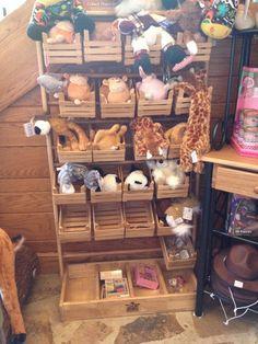 rustic wood crate display plush bins stuffed