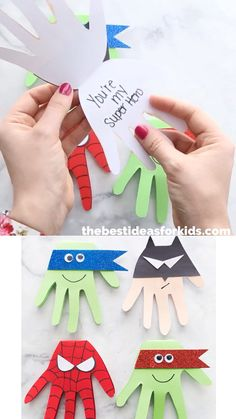 Superhero Craft Superhero Handprints is part of Superhero crafts - Make this easy superhero craft that can be used for birthday parties or as a card for Father's Day! Ninja Turtles, Batman and Spider handprint cards your superhero fan will love! Kids Fathers Day Crafts, Fun Crafts For Kids, Craft Activities For Kids, Toddler Crafts, Diy For Kids, Children Crafts, Crafts For Preschoolers, Fathers Day Cards Handmade, Super Hero Activities