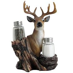 Rustic Deer Glass Salt and Pepper Shaker Set with Decorative Big Buck Holder in Kitchen Spice Racks Cabin and Hunting Lodge Decor and Gifts for Hunters by Home-n-Gifts