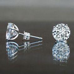 10ct Simulated Diamond- Diamond Veneer Solitaire Sterling Silver Studs Earrings 635e10ct
