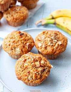 Muffiny bananowe Polish Recipes, Dessert Recipes, Desserts, Scones, Food And Drink, Gluten, Cupcakes, Sugar, Cookies