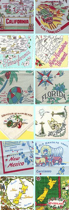 Here's a peek at some of the souvenir tablecloths and handkerchiefs from the linen lot lot I purchased last month. I've never had a stash of these before. They seem to be popular as they have been selling quickly. These...
