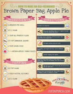 How to Make an Old-Fashioned Brown Bag Apple Pie Fall Dessert Recipes, No Cook Desserts, Thanksgiving Desserts, Just Desserts, Fall Recipes, Great Recipes, Delicious Desserts, Favorite Recipes, Yummy Food