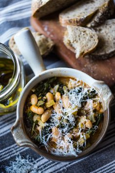 A flavorful hearty stew from Tuscany, called Ribollita with Cannellini beans… Tuscan Bean Soup, White Bean Soup, White Beans, Soup Recipes, Whole Food Recipes, Vegetarian Recipes, Healthy Recipes, Vegan Soups, Savoury Recipes