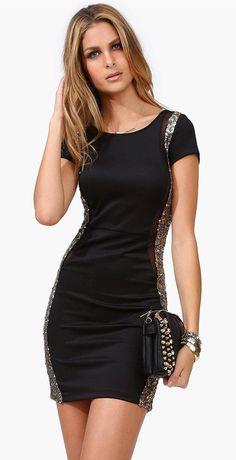 eba83d508a45 black dress with sparkles Bon Look