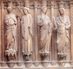 Annunciation and Visitation, jamb statues of central doorway, west facade, Reims Cathedral, Reims, France, ca. 1230-1255 CE, Gothic