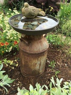 Vintage milk can bird bath # vintage - Easy Diy Garden Projects