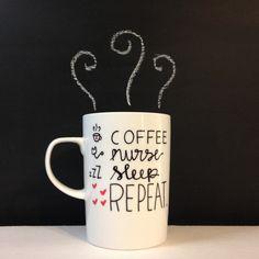 Coffee Nurse Sleep Repeat Fun 18 Hand Painted 18 oz Latte Mug/Nurse Gift by Morning Blues Shop, $18.00 USD