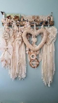 Dream catchers, hearts, burlap and lace, vintage crochet doilies