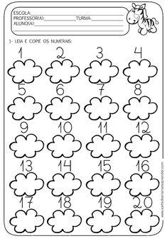 A Arte de Ensinar e Aprender: atividades numerais do 1 ao 20