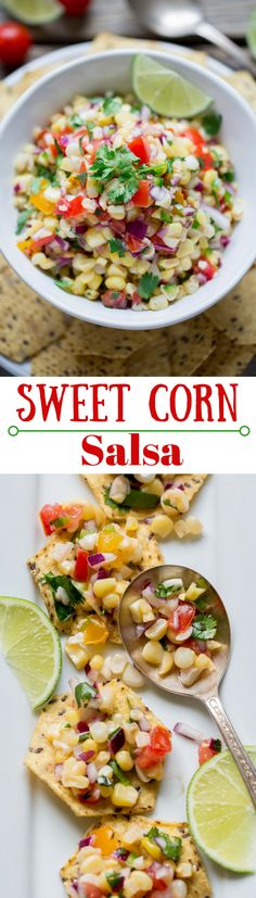 Sweet Corn Salsa - Sweet summer corn is the star of this fresh tasty salsa. Great served with chips, on chicken, fish or tacos - it's great on everything! Sweet Corn Recipes, Mexican Food Recipes, Vegetarian Recipes, Cooking Recipes, Healthy Recipes, Dip Recipes, Recipies, Spanish Recipes, Tuna Recipes