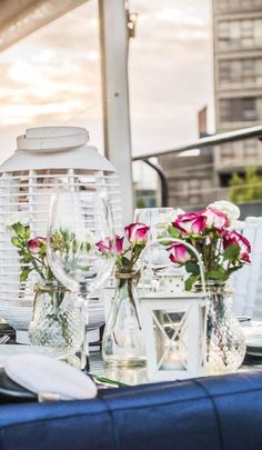 Panoramic rooftop views and fresh event decor that can be tailored to the personality of your party. #wedding #inspiration #dinner