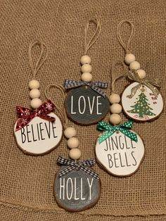 Wooden beaded ornaments, Rae Dunn inspired, Christmas Decor, Gifting - Happy Christmas - Noel 2020 ideas-Happy New Year-Christmas Clay Christmas Decorations, Beaded Christmas Ornaments, Easy Christmas Crafts, Simple Christmas, Christmas Holidays, Diy Ornaments, Homemade Christmas, Christmas Tree, Wooden Ornaments