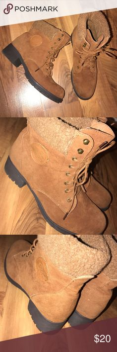 """Brown lace up booties Brown lace up booties with faux Sherpa trim around the top. Good used condition. Worn once but has some slight marks on them. Size 11 but in my opinion fit more like a 10. 2"""" heel. Lagloria Shoes Ankle Boots & Booties"""