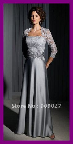 Gray Lace Satin Mother of The Bride Dress Long Evening Dresses picture from Suzhou Leader Apparel Co. view photo of Evening Dresses, Mother of The Bride Dress, Custom Bridesmaid Dress. Mother Of The Bride Gown, Mother Of Groom Dresses, Bride Groom Dress, Bride Gowns, Mothers Dresses, Mother Bride, Mom Dress, Lace Dress, Lace Bodice