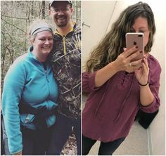 """""""Here is me in March vs me today. Ive lost 55lbs and feel so much better! Size 18 down to 8. I have 15 more to go but am much happier where I'm at now ...""""  Melissa H. www.TrimHealthyMama.com"""