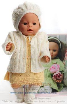 Baby Knitting Patterns Girl Knitting for dolls Knitting Dolls Clothes, Knitted Baby Clothes, Knitted Dolls, Doll Clothes Patterns, Doll Patterns, Baby Cardigan, Baby Knitting Patterns, Girl Dolls, Baby Dolls